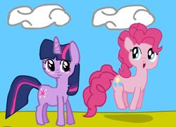 Size: 834x603 | Tagged: safe, pinkie pie, twilight sparkle, blush sticker, blushing, female, lesbian, ms paint, shipping, twinkie