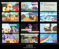 Size: 1470x1226 | Tagged: safe, edit, edited screencap, screencap, apple bloom, applejack, big macintosh, cloudy quartz, dumbbell, fluttershy, granny smith, hoops, igneous rock pie, limestone pie, pinkie pie, rainbow dash, spike, twilight sparkle, dragon, earth pony, pegasus, pony, unicorn, call of the cutie, friendship is magic, the cutie mark chronicles, chart, colt, female, filly, implied granny pie, lies, male, mare, sonic rainboom, stallion, unicorn twilight, word of faust