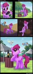Size: 818x1801 | Tagged: safe, artist:choedan-kal, amethyst star, berry punch, berryshine, derpy hooves, goldengrape, rainbow dash, sir colton vines iii, thunderlane, earth pony, pegasus, pony, alcohol, bottle, cellar, comic, crushing, cutie mark, eyes closed, female, flying, glass, grape stomping, grapes, hoof hold, lineless, mare, observer, open mouth, pouting, raised hoof, sitting, smiling, spread wings, standing, stomping, tongue out, vineyard, vinyard, waiting, wine, wine bottle, wine glass, wine tasting