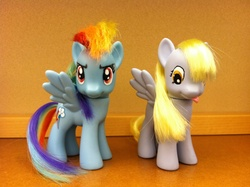 Size: 2592x1936 | Tagged: artist:purpletinker, brushable, custom, derpy hooves, photo, pony, rainbow dash, safe, toy