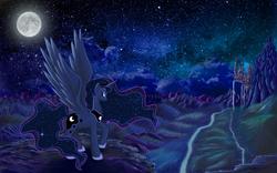Size: 1920x1200 | Tagged: safe, artist:duop-qoub, princess luna, canterlot, moon, night, scenery, solo, wallpaper