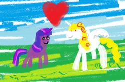 Size: 787x516 | Tagged: safe, artist:blueshift, twilight sparkle, oc, oc:yellowstar, pony, fanfic:the star in yellow, heart