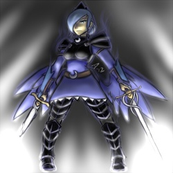 Size: 450x450 | Tagged: safe, artist:atticus83, princess luna, armor, humanized, solo, sword, warrior luna, weapon, winged humanization