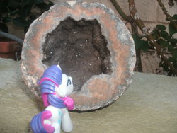 Size: 2048x1536 | Tagged: safe, rarity, blind bag, irl, photo, rock, toy
