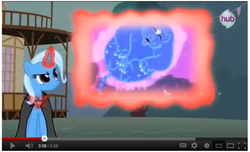 Size: 651x396 | Tagged: safe, trixie, ursa minor, magic duel, alicorn amulet, hub logo, meme, trixivision, youtube