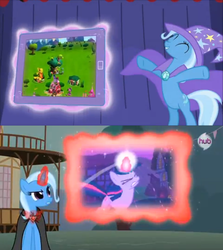 Size: 639x717 | Tagged: safe, screencap, trixie, twilight sparkle, magic duel, alicorn amulet, commercial, comparison, gameloft, hub logo, hubble, meme, tablet, trixivision