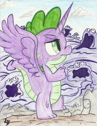 Size: 900x1167 | Tagged: safe, artist:theharmonicdeviant, smooze, spike, alicorn, pony, alicorn spike, alidragon, g1, gak, prince spike, princessified, wings