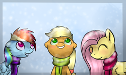 Size: 1229x737 | Tagged: safe, artist:ghst-qn, artist:schasti, applejack, fluttershy, rainbow dash, earth pony, pegasus, pony, clothes, eyes closed, female, grin, looking up, mare, scarf, smiling, snow, snowfall, winter