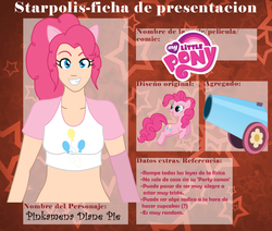 Size: 904x768 | Tagged: safe, artist:kagamine-mitsu, pinkie pie, belly button, cannon, eared humanization, humanized, midriff, party cannon, spanish