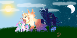 Size: 2000x988 | Tagged: safe, artist:lilmandarin, princess celestia, princess luna, oc, oc:king cosmos, oc:queen galaxia, alicorn, 's parents, celestia and luna's father, celestia and luna's mother, family, father and daughter, female, filly, galamos, male, mother and daughter, parent, royal family, royal sisters, sisters, young