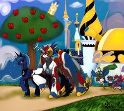 Size: 900x810 | Tagged: safe, artist:rafeal, princess luna, oc, canterlot, commission, crossover, disgaea, prinny, transformers