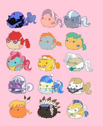 Size: 699x857   Tagged: safe, artist:pekou, carrot cake, chief thunderhooves, cup cake, diamond tiara, hoity toity, little strongheart, mayor mare, nightmare moon, prince blueblood, sapphire shores, silver spoon, snails, snips, twist, chubbie, glasses, royal guard