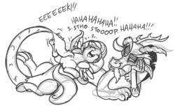 Size: 1000x630 | Tagged: artist:mickeymonster, discord, discoshy, female, fluttershy, male, monochrome, safe, shipping, sketch, straight, tickling