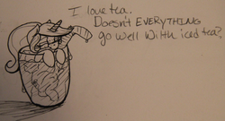 Size: 500x269 | Tagged: safe, artist:rawrcharlierawr, oc, oc only, oc:lemontwist, food, glasses, micro, sketch, tea