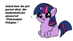Size: 1194x668 | Tagged: safe, twilight sparkle, clever, filly twilight telling an offensive joke, image macro, math, meme, pun
