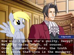 Size: 800x600 | Tagged: safe, derpy hooves, pegasus, pony, ace attorney, courtroom, crossover, female, mare, miles edgeworth