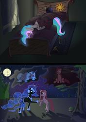 Size: 4967x7022   Tagged: safe, artist:roadsleadme, nightmare moon, pinkie pie, princess celestia, princess luna, absurd resolution, glowing mane, pinkamena diane pie, sleeping, vector