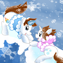 Size: 900x900 | Tagged: artist:perfectpinkwater, climbing, ice, ice climbers, ice climbing, magic, nana, nintendo, parka, ponified, popo, safe, snow, snowfall