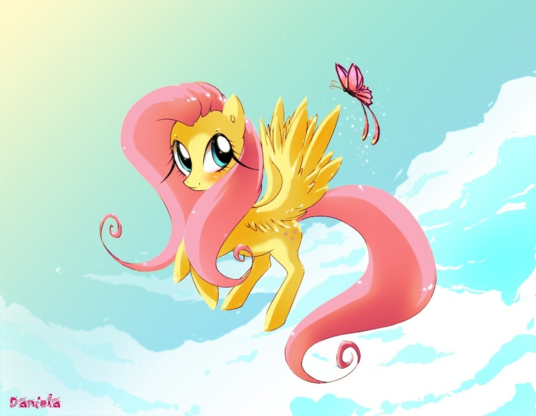 fluttershy flying with butterflies - 900×699