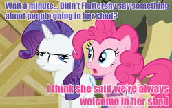 Size: 1722x1080   Tagged: safe, pinkie pie, rarity, .mov, putting your hoof down, hub logo, image macro, pink text, scrunchy face, shed.mov