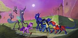Size: 4080x1995 | Tagged: safe, artist:envidia14, princess luna, queen chrysalis, twilight sparkle, oc, oc:lady snow, changeling, changeling queen, kirin, pony, unicorn, absurd resolution, armor, canterlot, castle, cloven hooves, female, full moon, hedge maze, mare, moon, neighponese, samurai, unicorn twilight