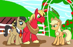 Size: 774x506   Tagged: safe, artist:missesnovember, applejack, big macintosh, filthy rich, earth pony, pony, big n rich, gay, male, shipping, stallion