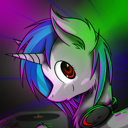 Size: 3000x3000 | Tagged: artist:ralek, bust, chest fluff, dj pon-3, ear fluff, female, headphones, mare, neck fluff, pony, safe, smiling, turntable, unicorn, vinyl scratch
