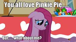 Size: 1280x716   Tagged: safe, pinkie pie, caption, image macro, meme, pinkamena diane pie, sad