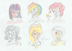 Size: 2078x1468 | Tagged: safe, artist:lordvader914, applejack, fluttershy, pinkie pie, rainbow dash, rarity, twilight sparkle, dialogue, humanized, mask, traditional art