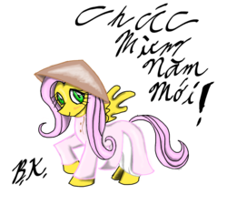 Size: 1000x900 | Tagged: safe, artist:lordvader914, fluttershy, ao dai, clothes, simple background, vietnam, vietnamese, white background