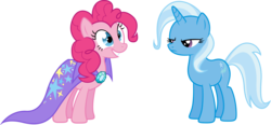 Size: 6364x2965 | Tagged: safe, artist:ambits, pinkie pie, trixie, simple background, transparent background, vector