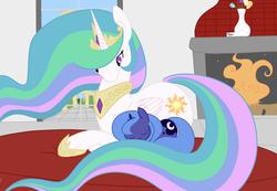 Size: 2553x1765   Tagged: safe, artist:fribox, princess celestia, princess luna, alicorn, pony, duo, duo female, female, fireplace, royal sisters, sisters, sleeping