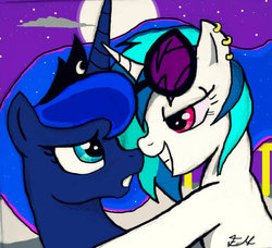 Size: 602x548 | Tagged: artist:mareofthenight, bedroom eyes, boop, dj pon-3, earring, eye contact, female, grin, hug, lesbian, noseboop, :o, princess luna, safe, shipping, smiling, vinyl scratch, vinyluna