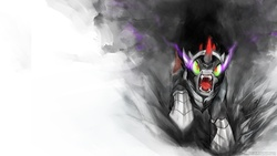 Size: 1920x1080 | Tagged: angry, artist:slifertheskydragon, darkness, fangs, king sombra, safe, solo, the crystal empire, wallpaper