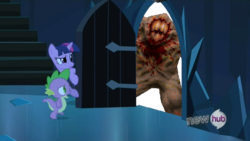 Size: 854x480 | Tagged: meme, quake, quake 1, safe, shambler, spike, the scary door, twilight sparkle