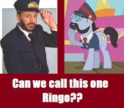 Size: 692x604 | Tagged: safe, all aboard, human, conductor, irl, mr. conductor, photo, ringo starr, shining time, thomas the tank engine, train