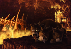 Size: 1680x1149 | Tagged: safe, artist:cannibalus, cerberus (character), cerberus, annoyed, ball, cavern, darkness, happy, hell, lava, multiple heads, panting, solo, tartarus, three heads, tongue out