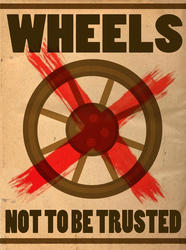 Size: 600x805 | Tagged: safe, artist:pixelkitties, trixie, magic duel, cropped, old version, propaganda, wheel, wheels trixie