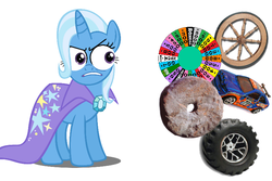 Size: 768x512 | Tagged: safe, trixie, magic duel, don't trust wheels, ford escort, game show, hot wheels, special eyes, wheel, wheel of fortune, wheels trixie