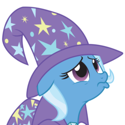 Size: 5000x5000 | Tagged: absurd res, .ai available, artist:rainbowderp98, cape, clothes, female, floppy ears, frown, hat, looking up, magic duel, mare, pony, pouting, sad, safe, simple background, solo, .svg available, transparent background, trixie, trixie's cape, trixie's hat, unicorn, vector