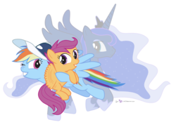 Size: 1800x1300   Tagged: safe, artist:dm29, princess luna, rainbow dash, scootaloo, alicorn, pegasus, pony, baseball cap, cap, coaching cap, hat, hoof shoes, scootalove, simple background, sisters, transparent background, trio