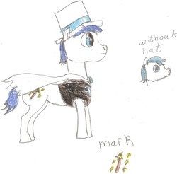 Size: 561x553 | Tagged: safe, artist:lunastar3614, earth pony, pony, count bleck, paper mario, ponified, super mario bros., super paper mario, traditional art