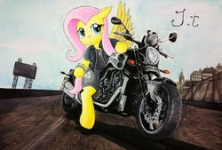 Size: 1024x691 | Tagged: safe, artist:jet-ann, fluttershy, motorcycle, solo, traditional art