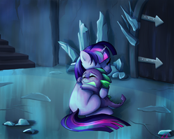 Size: 1053x839 | Tagged: safe, artist:c-puff, spike, twilight sparkle, dragon, pony, unicorn, the crystal empire, anxiety, comfort, comforting, crowning moment of heartwarming, crying, door, fear, feels, female, heartwarming, hug, male, mama twilight, mare, missing cutie mark, scene interpretation, spikelove, stairs, sweet dreams fuel, unicorn twilight