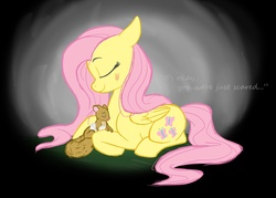 Size: 2132x1523 | Tagged: artist:rustedrabbit, bandage, blood, fluttershy, safe, squirrel
