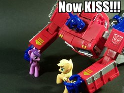 Size: 960x720 | Tagged: safe, applejack, twilight sparkle, earth pony, pony, unicorn, blind bag, crossover, female, irl, lesbian, now kiss, optimus prime, photo, shipper on deck, shipping, toy, transformers, twijack
