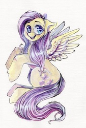 Size: 743x1099 | Tagged: safe, artist:busoni, fluttershy, paint, painting, solo, traditional art
