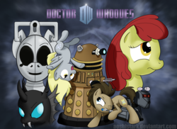 Size: 4951x3600 | Tagged: safe, artist:aoshistark, apple bloom, derpy hooves, doctor whooves, time turner, changeling, cyber pony, cyberman, cyborg, pegasus, pony, dalek, doctor who, female, k-9, mare, the doctor