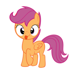 Size: 894x894 | Tagged: safe, scootaloo, :p, cross-eyed, cute, cutealoo, female, looking at you, raised hoof, silly, simple background, smiling, solo, tongue out, transparent background, vector