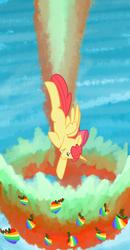 Size: 484x932 | Tagged: safe, artist:coggler, apple bloom, alicorn, pony, bloomicorn, sonic rainboom, sonic xboom, zap apple